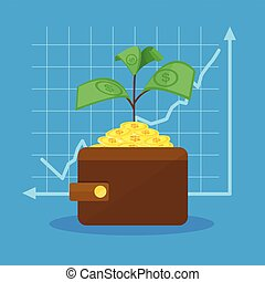 money tree in wallet and graph