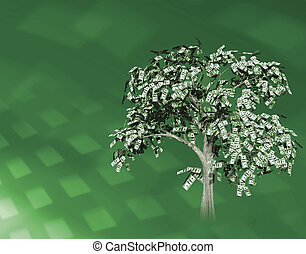money tree - An old oak-looking tree with hundred dollar...