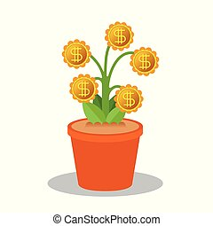 Money tree vector concept in flat style