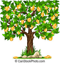 Money tree - Vector illustration of a money tree with golden...