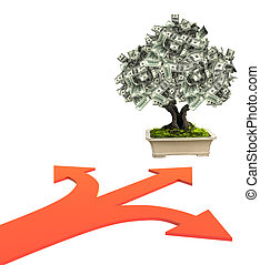 Money tree with dollar banknotes