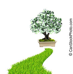 Money tree with euro banknotes and road with green grass