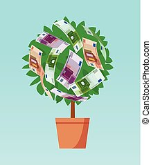 Money tree with euro growing