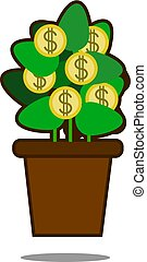 Money tree with golden coins. Tree in pot. Vector illustration isolated on white background. Web site page and mobile app design.