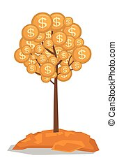 Money tree with golden coins vector illustration.
