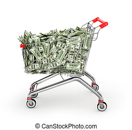 Money Trolley. Shopping cart full of money bills. 3d ...