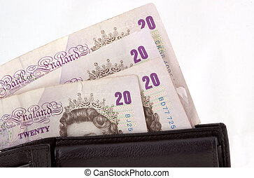 Money - Twenty poind notes in wallet