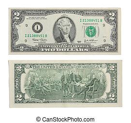 Money two dollars USD isolaetd on white background