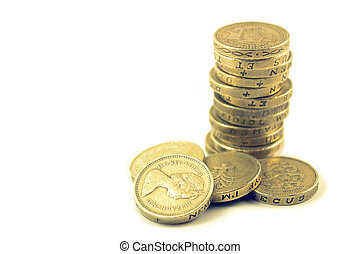 Money UK 1 pound coins - Pile or stack of UK 1 pound coins