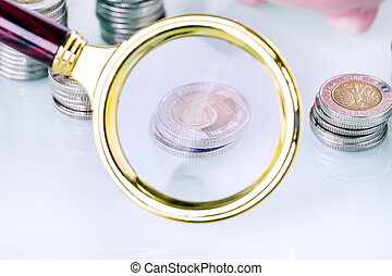 Money under loupe. Zoom on home finances