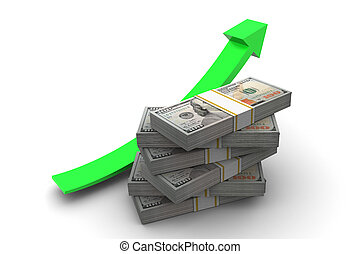 Money Up Arrow - Hundred dollar bills stack and up arrow ...