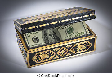 money USD $ 100 in the casket, box