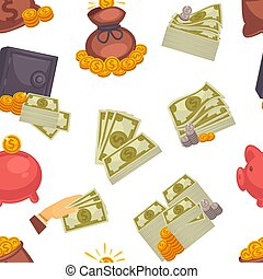 Money USD cash, American dollar and coins seamless pattern isolated on white background vector.