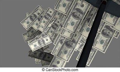 Concept animation, money vacuum cleaner.