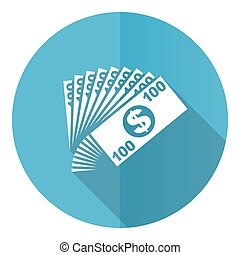 Money vector icon, flat design blue round web button isolated on white background