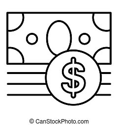 money vector icon isolated on white. Dollar cash symbol. Line flat outline icon. eps 10
