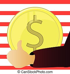 Money. Vector illustration Symbol wealth. The coin and Dollar the Sign cent are isolated against the background of America a flag. Finger up. Growth.