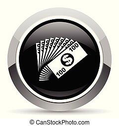 Money vector steel icon. Chrome border round web button....