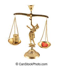 Money versus love on the pan scales