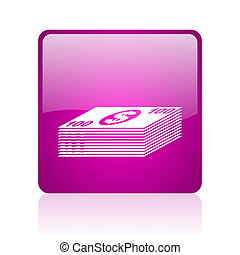 money violet square web glossy icon