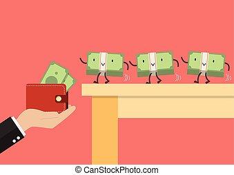 Money walking into a wallet