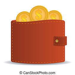 money wallet icon with coins