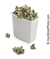 Trash Can full of Crumpled Dollars Over Flowing of Frustration. Isolated on a white background.