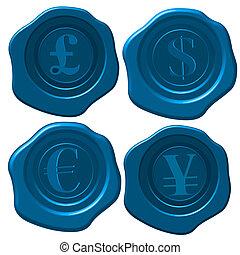 Money wax seal - Major currency symbols on blue wax seal.