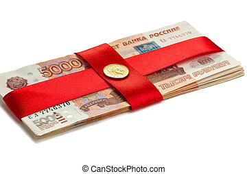 Money with a red ribbon