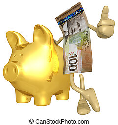 : Money With Gold Piggy Bank