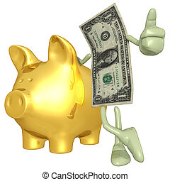 Money With Gold Piggy Bank