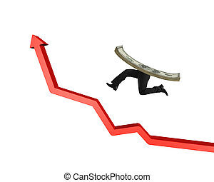 Money with human legs running on red arrow up graph