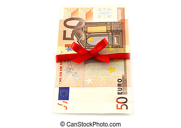 Money with red bow on a white background