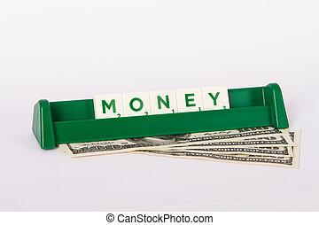 Money Word and Hundred Dollar Bills