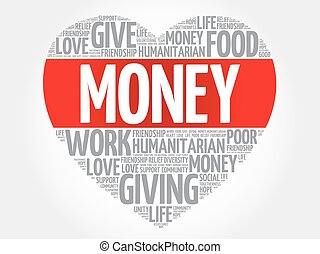 Money word cloud, heart concept