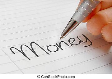 Money word handwriting