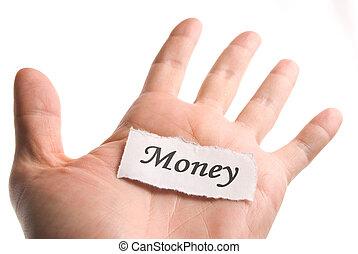 Money word in hand