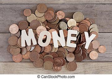 Money - Word money over a pile of euros coins