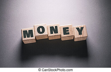 Money Word with Wooden Cubes