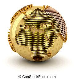 Money world, Europe region - Golden globe formed by dollar...