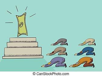 Money Worshiper - Illustration of men worshiping money