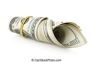 Money wrapped in a rubber band