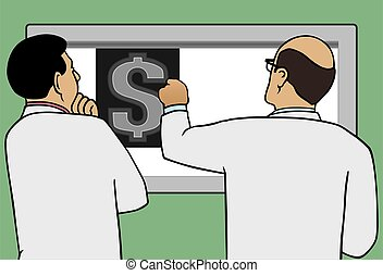 Money X-Ray - Two doctors are examining an X-ray of a dollar...