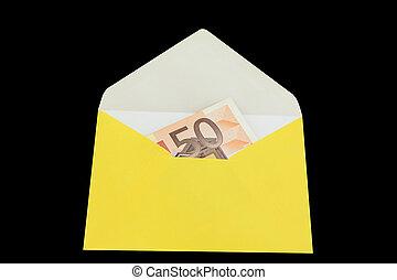 Yellow envelope with ero isolated on black