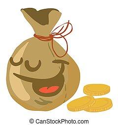 moneybag smile cartoon illustration isolated on white