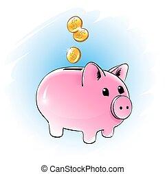 Moneybox.  - Color vector illustration of moneybox.