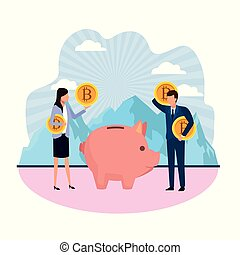 moneybox cryptocurrency business couple with bitcoins...