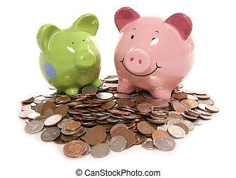 moneybox, monete, valuta britannica, banca piggy