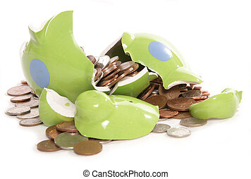 moneybox, monete, valuta britannica, piggy, fracassato, banca