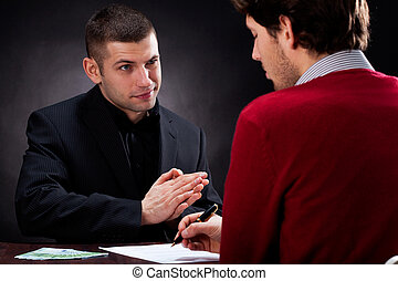 Moneylender talking with client - Moneylender convincing...